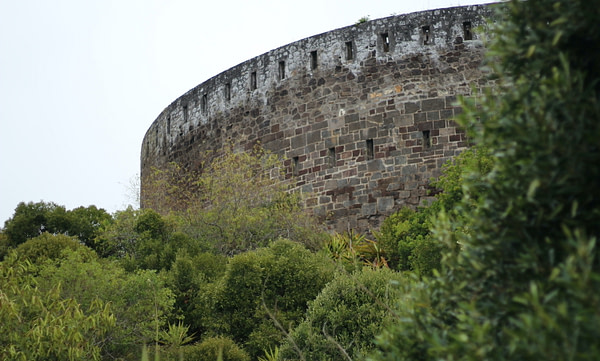 Wall of the High Knoll Fort, a prominent landmark at St Helena Island, South Atlantic Ocean.