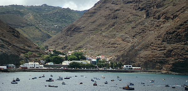 View from the ocean of Jamestown, St Helena Island, South Atlantic Ocean