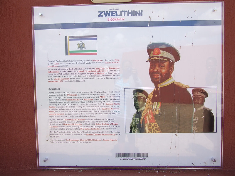 Image of King Goodwill Zwelithini at Ncome Museum, KwaZulu-Natal, South Africa.